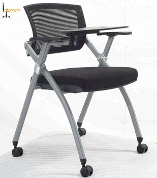 CIFF foldable and stackable mesh office conference room chair with writing pad