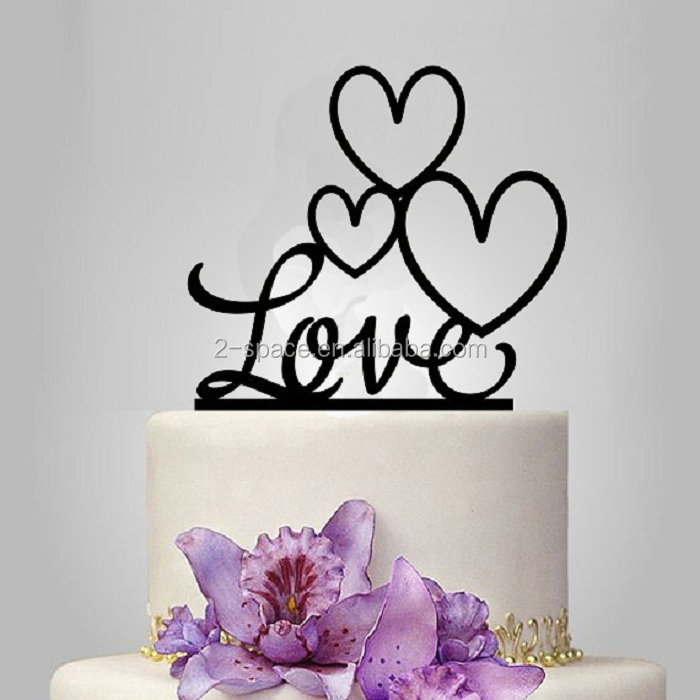 Acrylic Cake Topper Black Banner Perspex Custom Love Cake Decoration