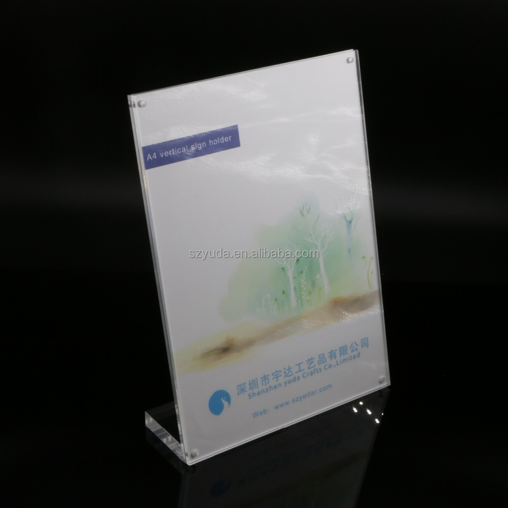 Clear Acrylic A4 T2mm Plastic Sign Display Paper Promotion Card Table Label Holder L Stand In Vertical 100pcs High Quality Desk Accessories & Organizer File Tray