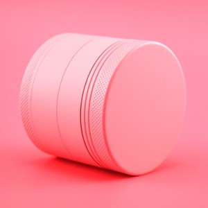 NEW arrival , most popular glass smoking filter accessories 55mm 4part matte pink herb weed grinder,FREE CUSTOM LOGO
