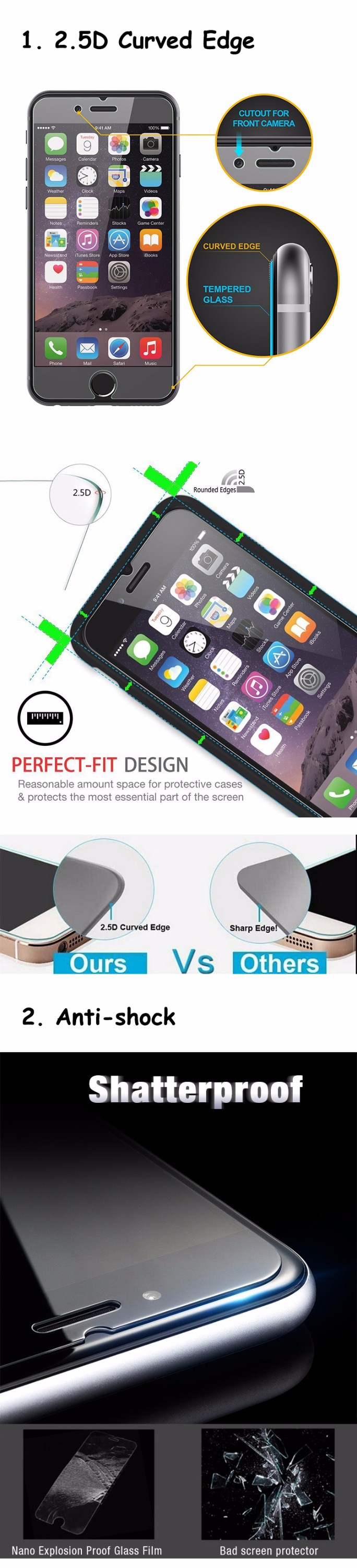 Factory price unlocked touch import mobile phone accessories tempered glass screen protector for iphone 6