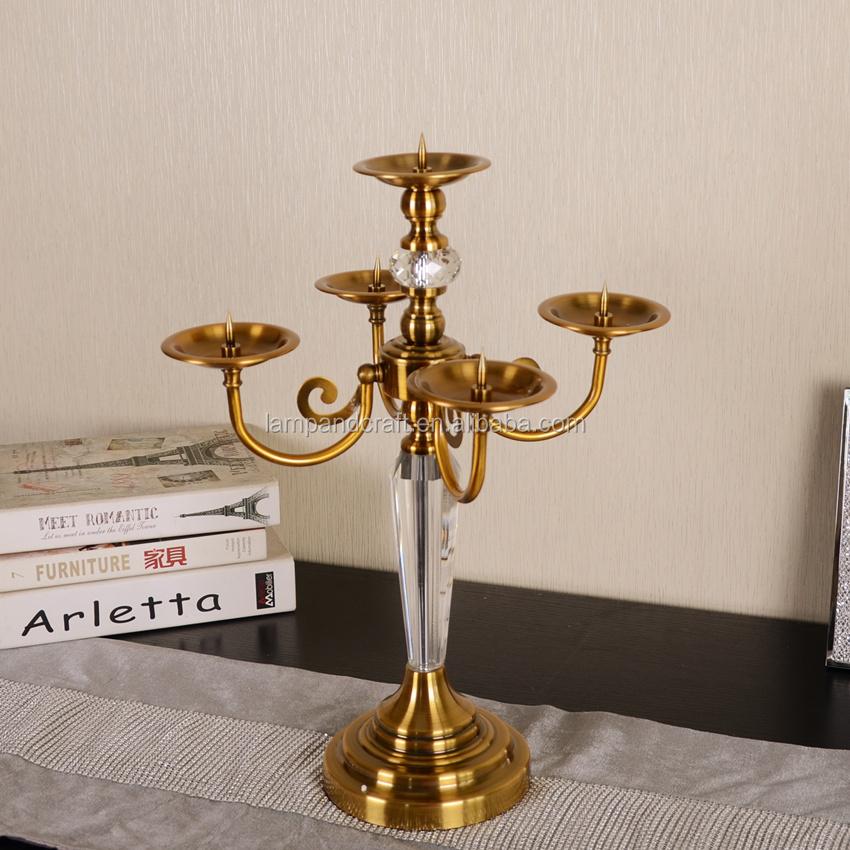 2016 pakistan 5 arms copper gold candle holder art modern royal home decor wedding decor - Royal Home Decor