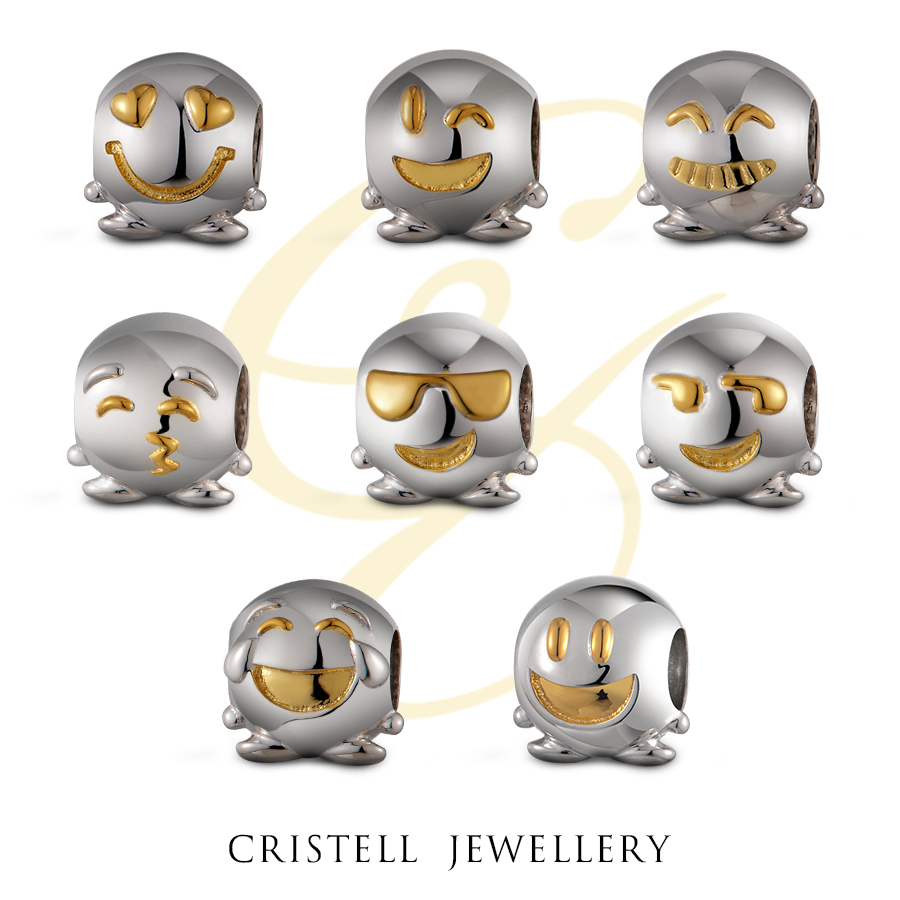High quality fashion Jewelry sterling silver 925 round emoji charms wholesale For Bracelet DIY