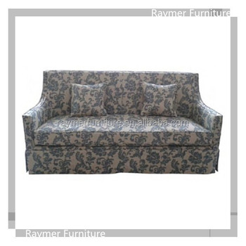 Floral Print Fabric Slip Cover Straight Back Classic Sectional Sofa Design