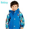Thermal PU Fleece Lined Windbreaker Jacket Boys Waterproof Ski Rain Jacket Reflective BreathableOutdoor Windproof Jacket Outwear