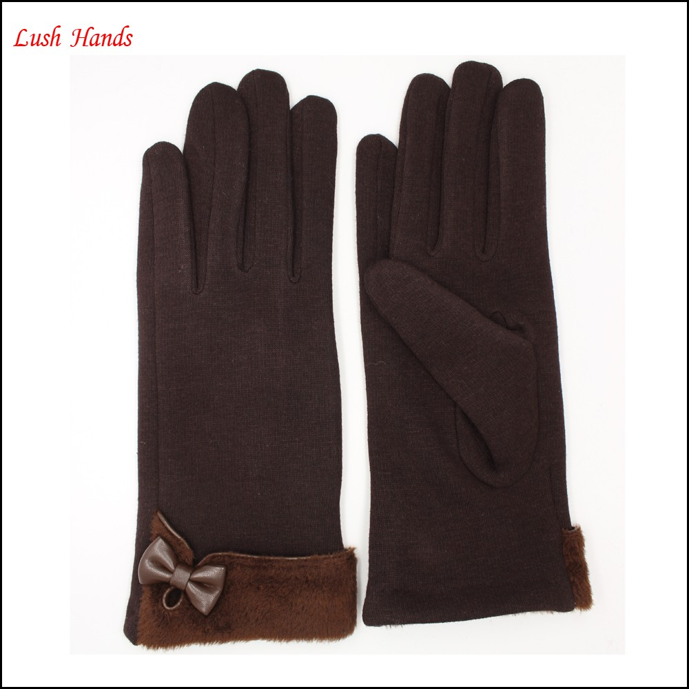 mirco velvet women's gloves with Fake fur and small bow