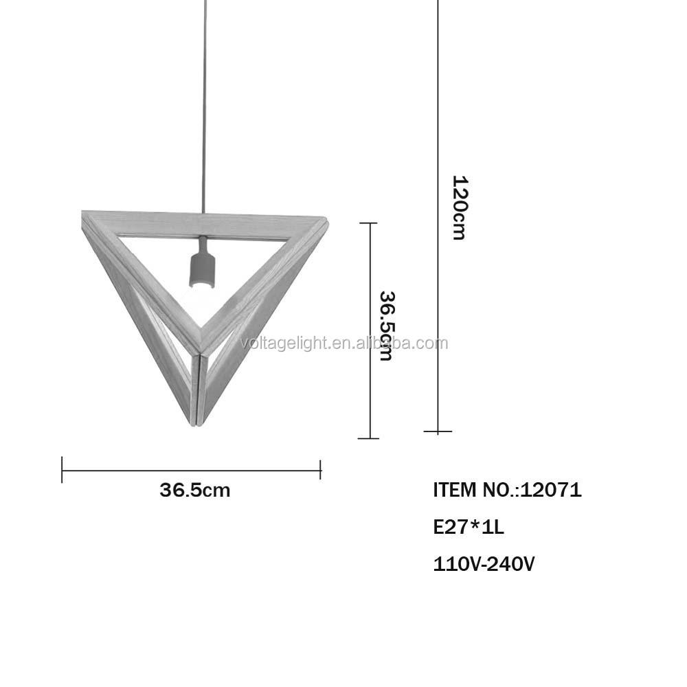 Modern Replica Wooden Pendant Light Triangle Wooden Frame Hanging ...