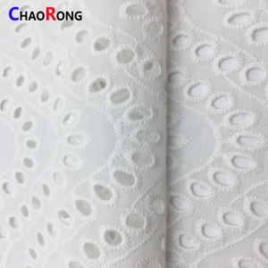 CRF0511 Embroidered patterns apparel tissu sewing skirt cloth White Cotton embroidery fabric