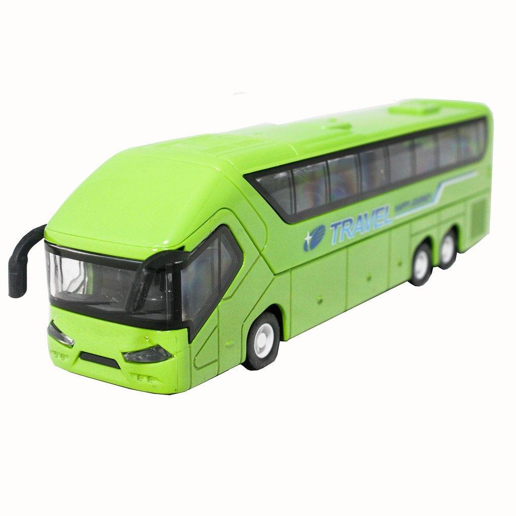 1:50 Die-Cast Coach Metro Travel Bus Green Color Pull Back Sound Light(L x W x H),20.5cm x 6cm x 4.5cm
