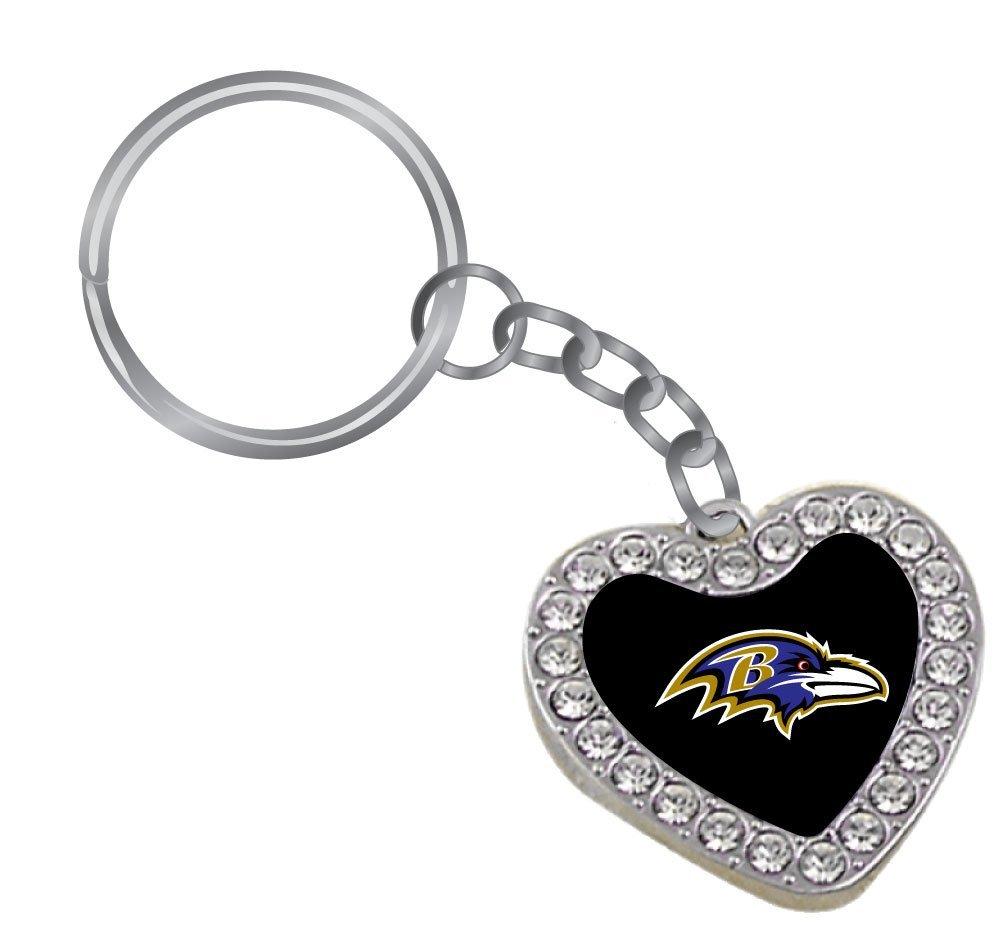 NFL Baltimore Ravens Reversible Crystal Heart Key Tag