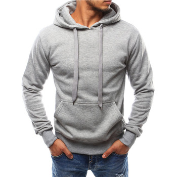 Plain Gray 100% Pre-Shrunk Men Custom Made Cotton Hoodies And Sweatshirts