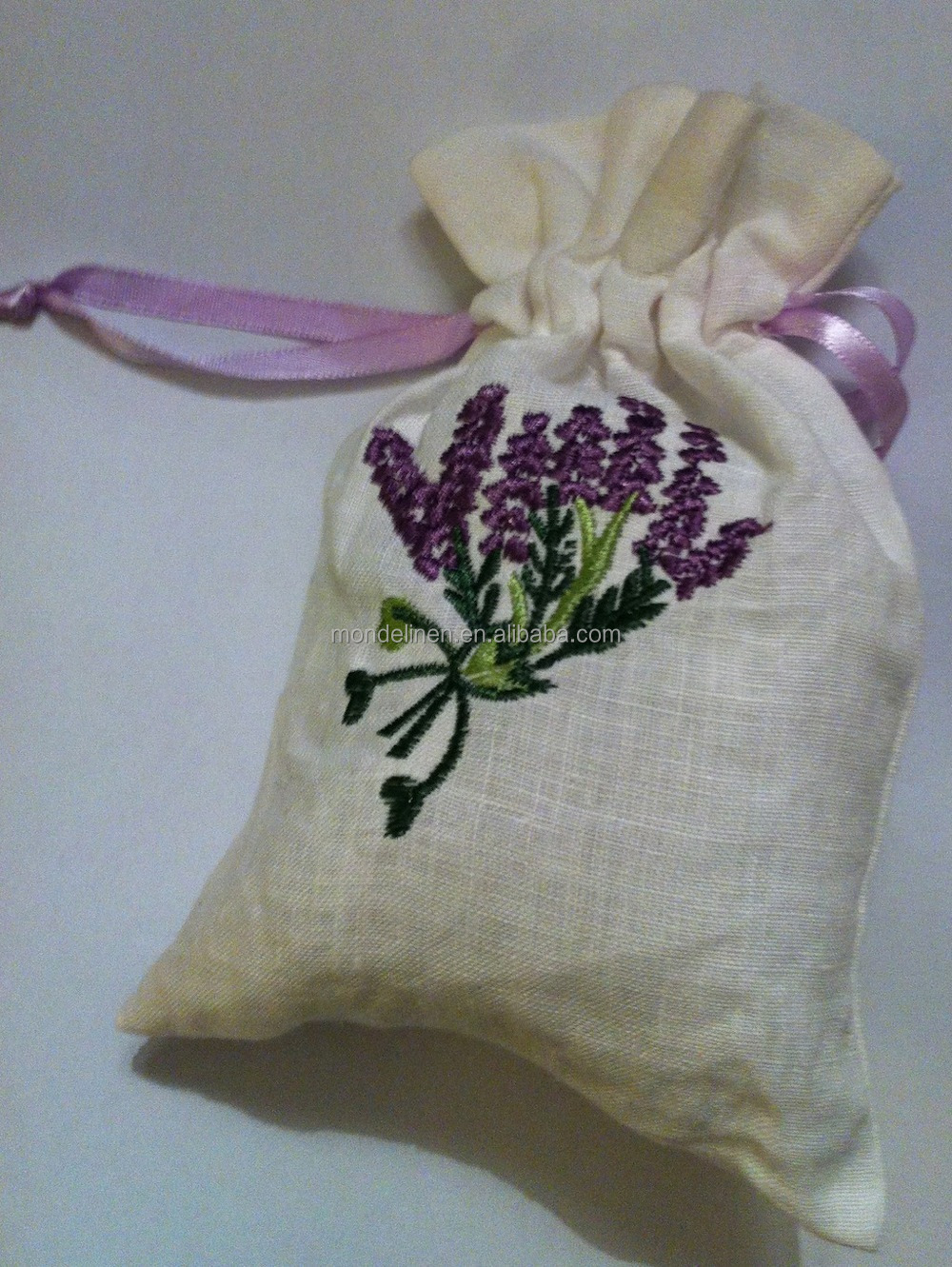 clasicall hot sale 100 linen lavender sachet bag with embroidery