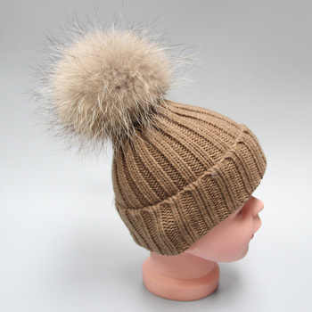 ccb76250e84 High Quality Custom Winter Knitted Beanie Hat With Fur Pom- Pom ...