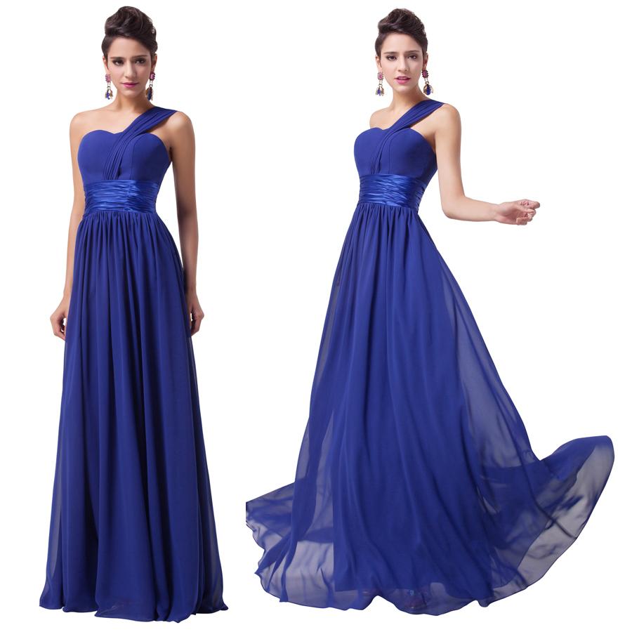 Royal Blue One Shoulder Chiffon Dress