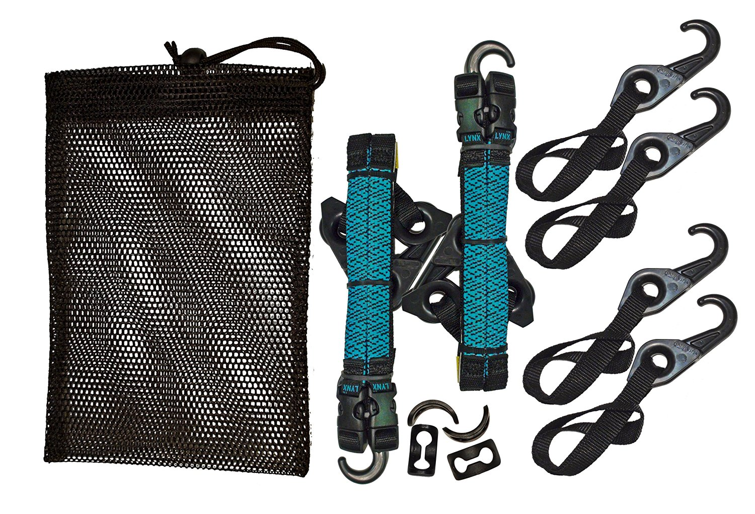 LYNX Hooks® Interlocking Adjustable Gear Strap Stash Bag Kit (Aqua Blue)