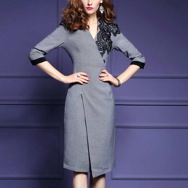Yihao Oem Nuevo Último Diseño Señora Oficina Vestido Mujer Moda 3/4 ...