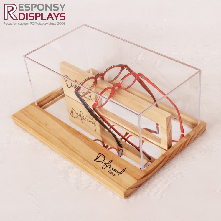 Transparent Acrylic And Wood Cell Glasses Tabletop Display Box