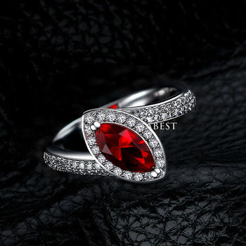 Marquise-Cut Lab-Created Ruby Charming Vintage-Style Ring in Sterling 925 Silver