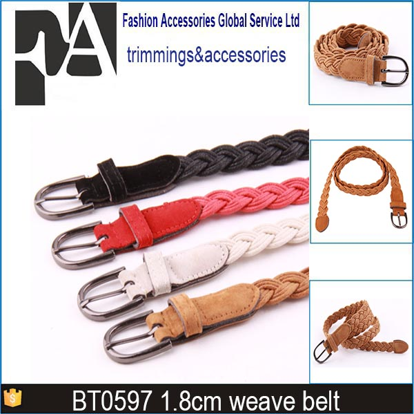 Fashion hand made cheap casual braided white cotton weave ladies dress belt with pu leather covered belt buckle