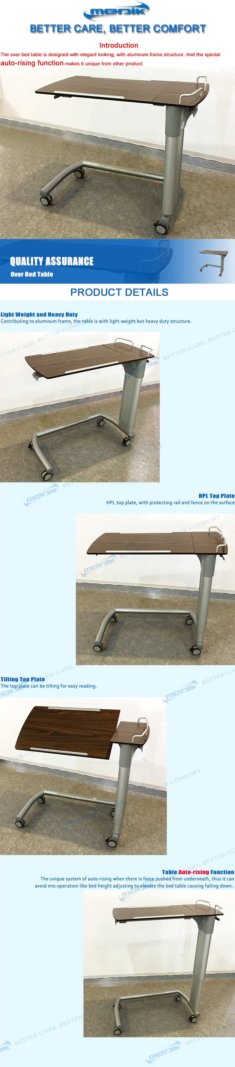 Manufacture Cheap Price Hospital Medical Over Bed Table