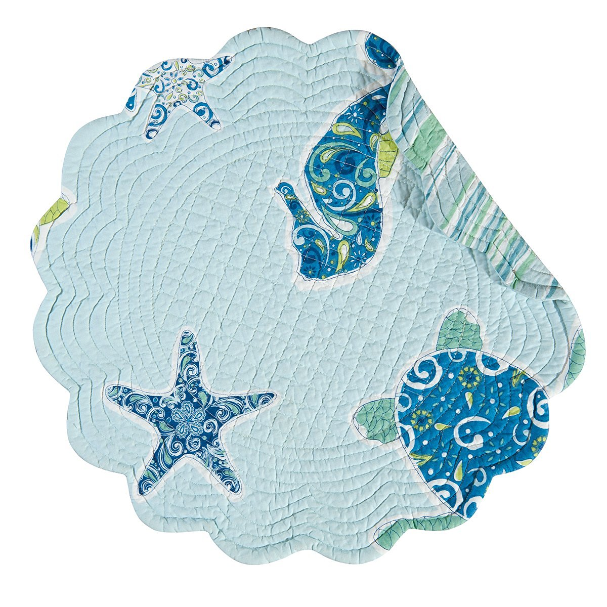 "Set of 4 Pcs, 17"" Round Quilted Placemat, Imperial Coast"