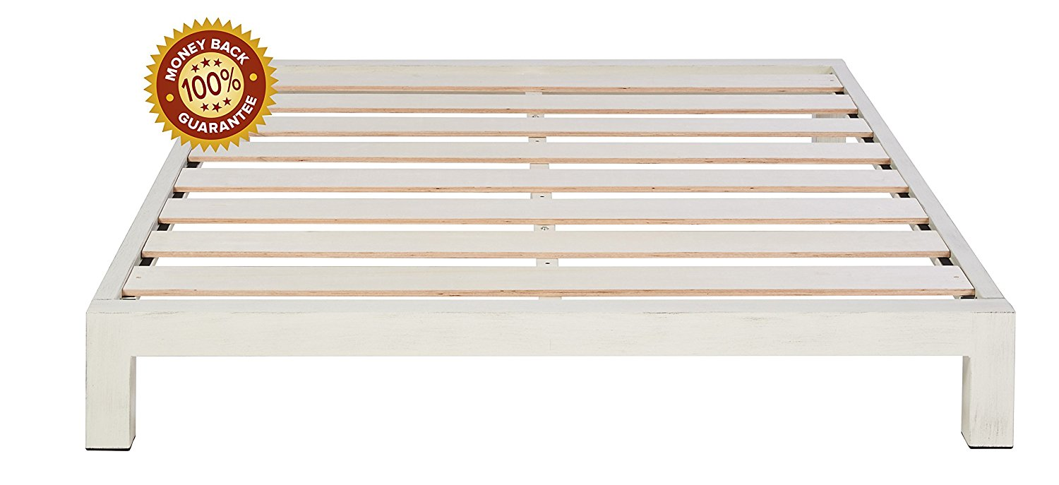In Style Furnishings Aura Modern Metal Low Profile Thick Slats Support Platform Bed Frame - King Size, White