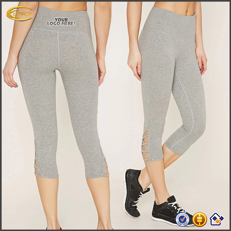 Ecoach 2016 Latest Design Crisscross Cutout Side 92% cotton 8% Spandex Fitness Yoga Wear Womens Activerwear Leggings