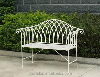 Gothic Style Folding Metal Garden Bench Shabby Chic