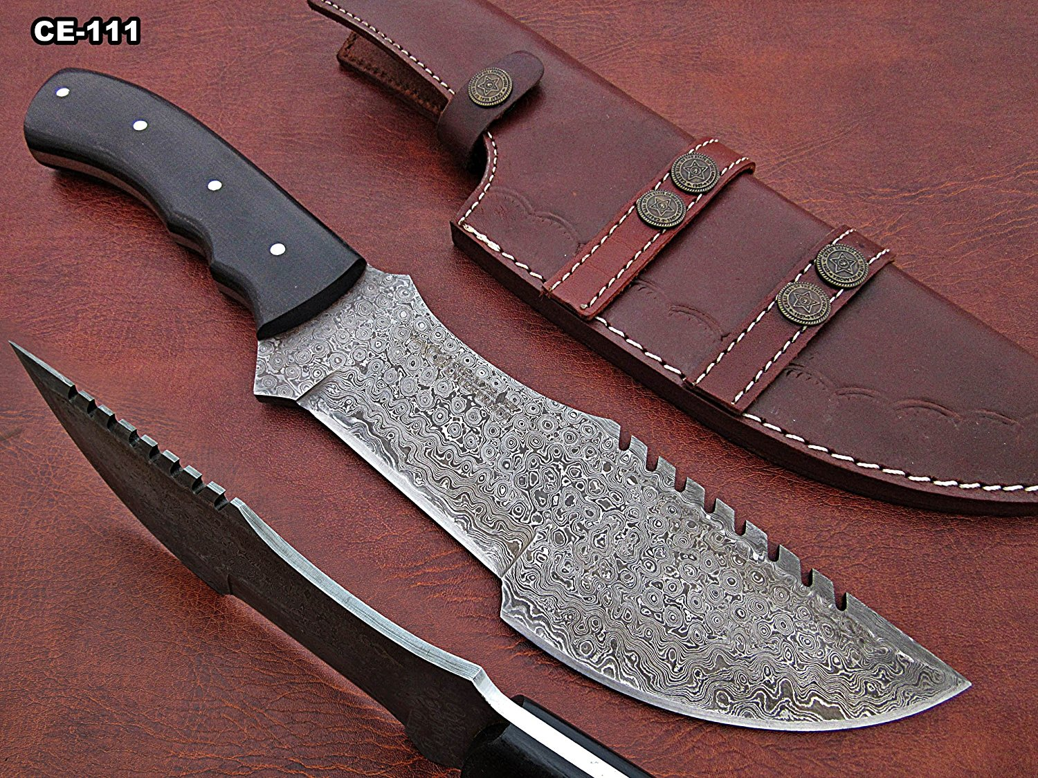 Hand Made Damascus Steel Hunting Knife With Black Wood Micarta Handle.