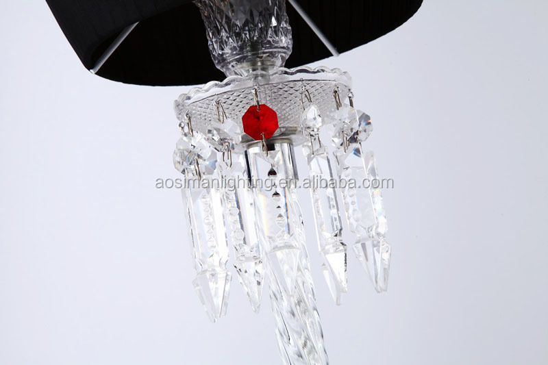 Baccarat Style Torch Table Lamp with Black Lampshade