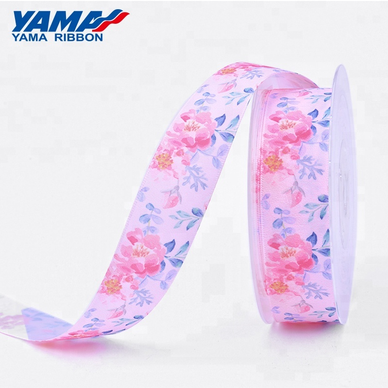 Newly customized 100% polyester 3/4'' rose printed satin ribbon factory in china