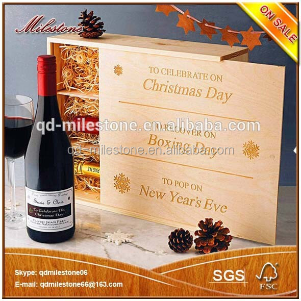 Christmas Supplying Storage Wooden Crates Wholesale,Wooden Wine Box