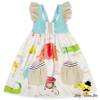 22fe904eff17 Summer Flutter Sleeve Baby Girl Printed With Two Pocket Kids Frock Designs Girls  Dress