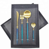 Amazon hot sale stainless cutlery set dinnerware in custom box for wedding guest Christmas flatware