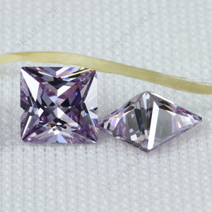 Newest cutting rhombus shape synthetic lavender cubic zirconia for jewelry making