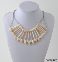 Natural shells Statement necklace multi strand shell and conch mermaid women necklace