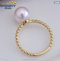 7.5-8mm white natural akoya 14K gold yellow gold pearl ring, wedding pearl ring