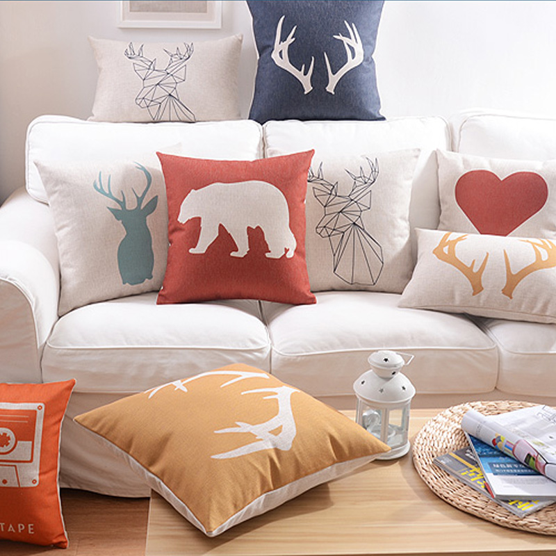 Nordic minimalist style Home Pillow Decoration deer elephant Chair Pillow abstract Decorative Throw Pillows free shipping
