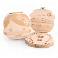 Hot sale Handmade wooden baby milk teeth storage box organizer