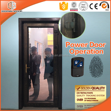Latest Model Main Safety Red Oak Wood Tempered Glass Design Fingerprint Hinged Patio Exterior Door
