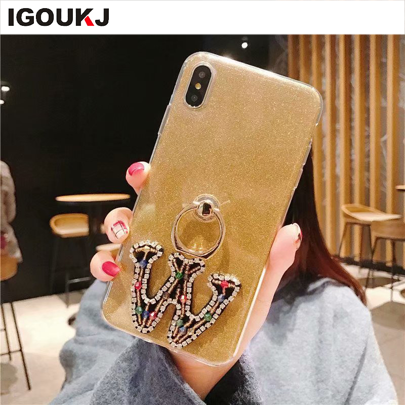 Freeshipping Hot Sale Letter With Bracket Soft Tpu Glitter Back