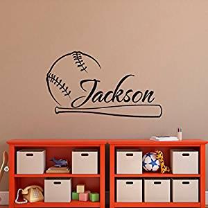 Baseball Wall Decal Name- Baseball Personalized Boy Decal- Boy Name Wall Decals- Baseball Wall Art- Wall Decals Nursery Boys Teens Room