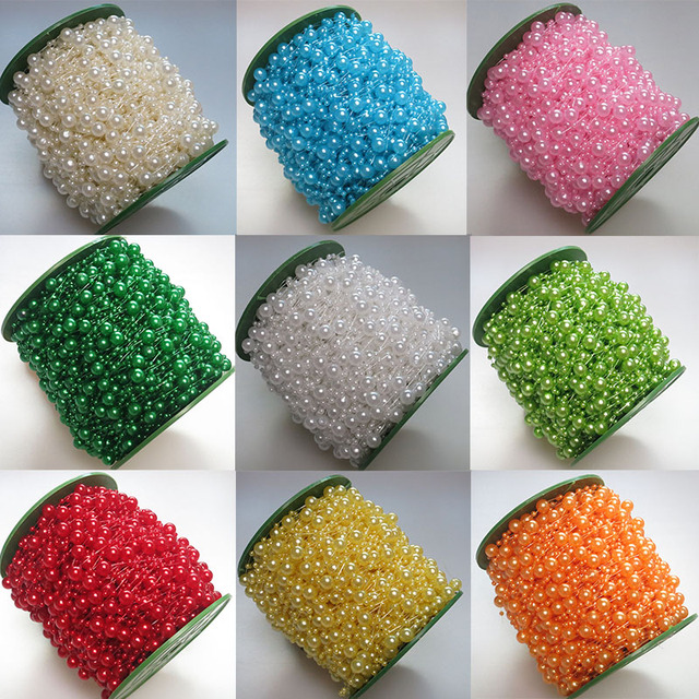 5m 10m 60m Fishing Line Pearls Chain Pearl Beads Chain: 60m/roll Wedding Decoration Centerpieces Supplies 23