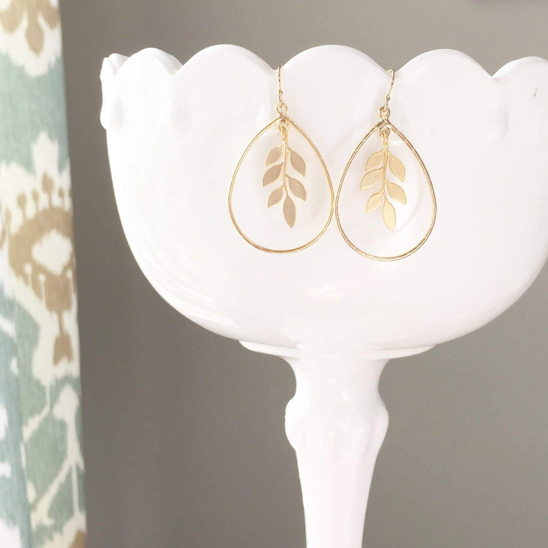 FELICITY | Gold Leaf Earrings | Gold Teardrop Earrings | Gold Laurel Leaf Earrings | Bridesmaid Earrings | Teardrop Earrings