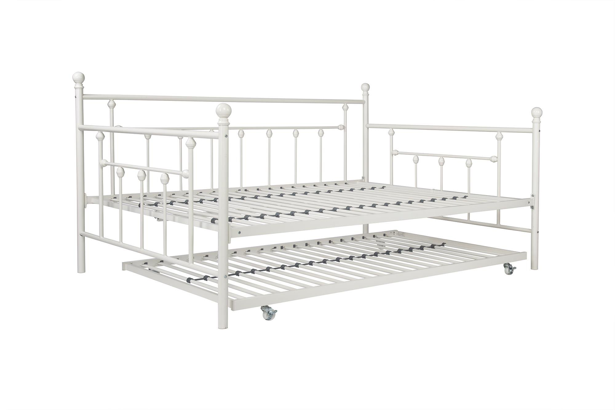 DHP Manila Metal Daybed and Trundle, Full Size Daybed and Twin Size Trundle, Multifunctional, White