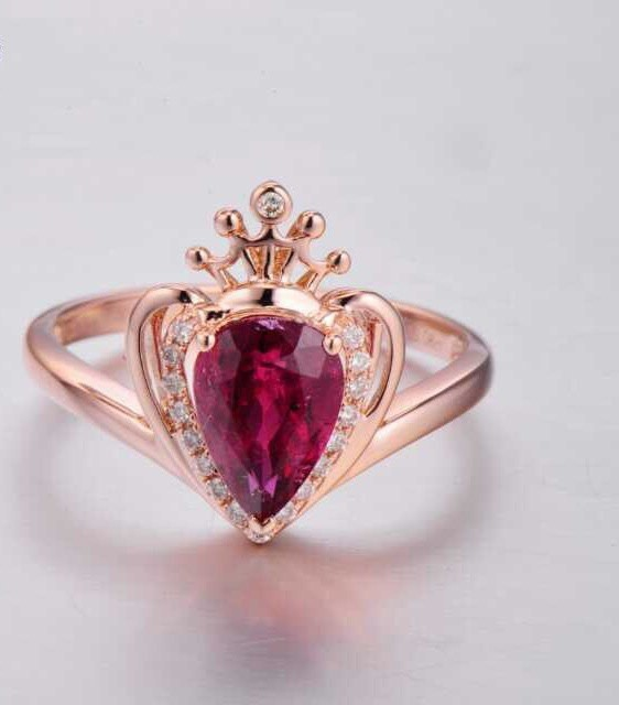 Fashion Jewelry Rose Gold Crown Ring Purple Crystal Wedding Rings Shaped Product