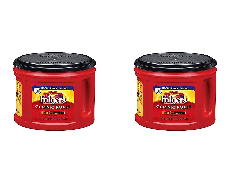 Folgers Classic Roast Ground Coffee, Medium Roast, 30.5 Ounce (2 Pack)