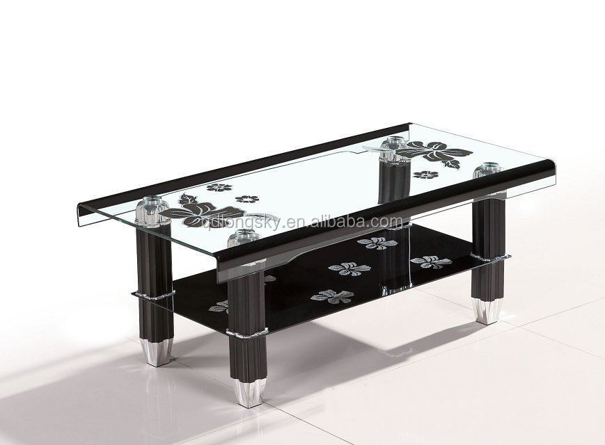 New Modern Square Center Table Black Glass Coffee Table LS 1005