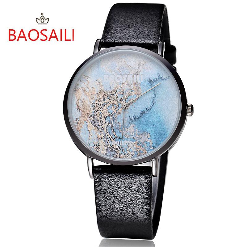 La Posterior Del Impermeable Baosaili Pu Pulsera Casual Correa Inoxidable Paisaje Relojes Clásico Hombres De Reloj Cuero Diseño Acero Único sdhrCtQx