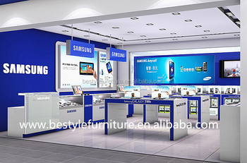 Cell Phone Store Fixtures Mobile Shop Decoration Interior Design Display  Counter